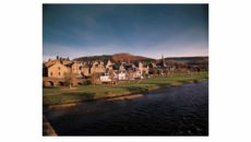 View to town and River Tweed, Peebles, Borders, Scotland.