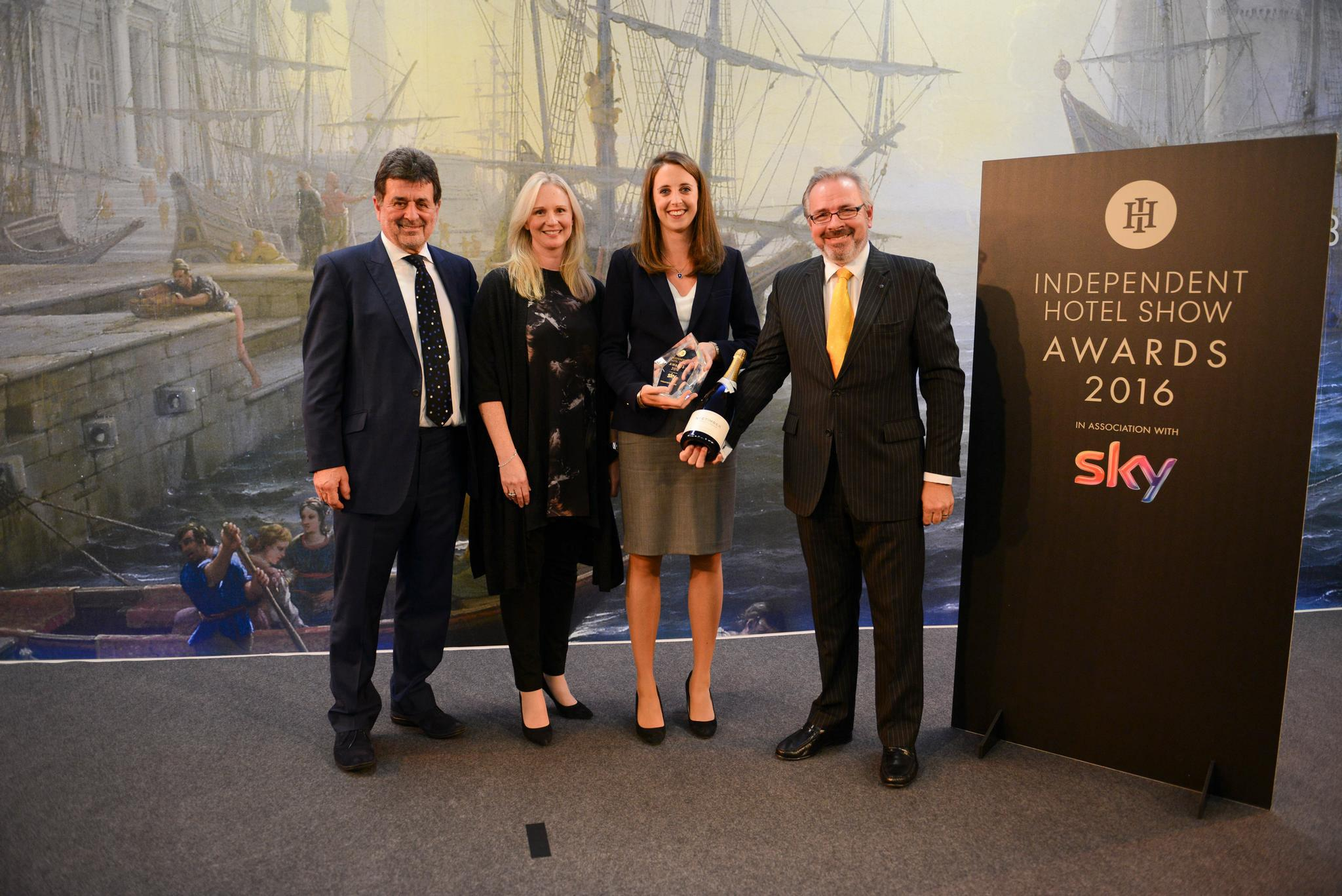 The winners from 2016: L-R Owners of The Laslett, Kate Levin from The Capital and Peter Hancock, chief executive at Pride of Britain Hotels