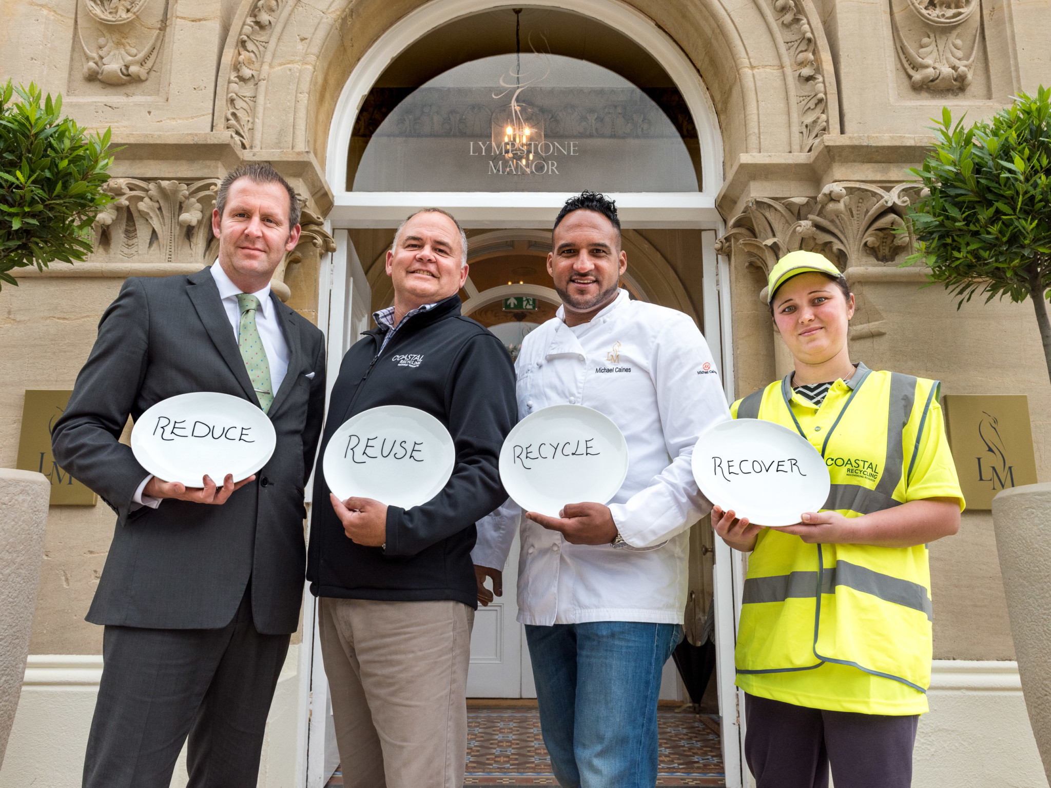 Scott Andrews, General Manager, Lympstone Manor; Richard Marsh, Director, Coastal Recycling; Michael Caines MBE, Chef Patron, Lympstone Manor and Mihaela Platoh_credit Andrew Butler