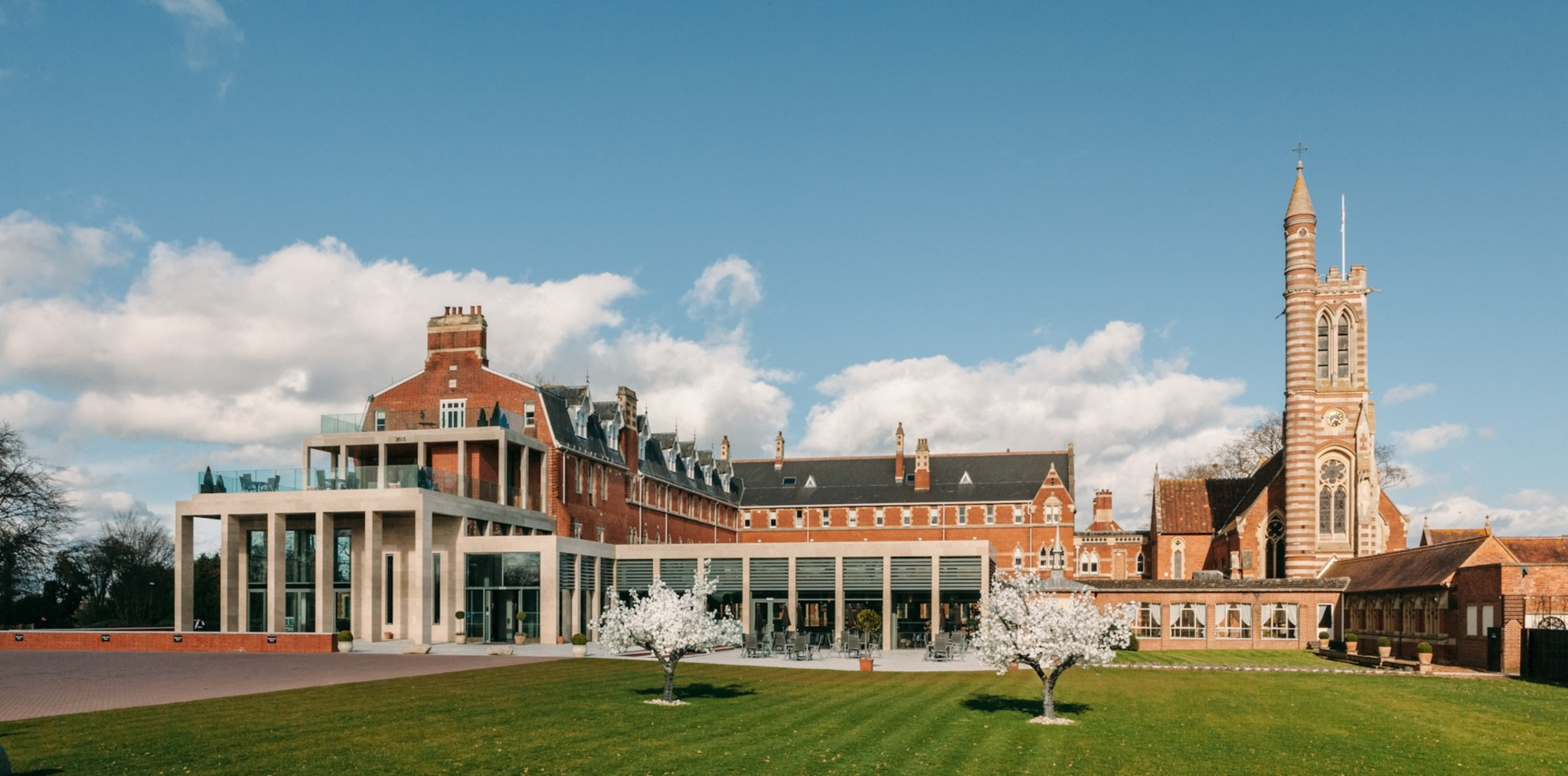 Stanbrook-Abbey-front-Blossoms