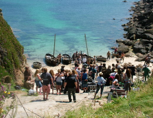 The crew of Poldark film on Porthgwarra in Cornwall.