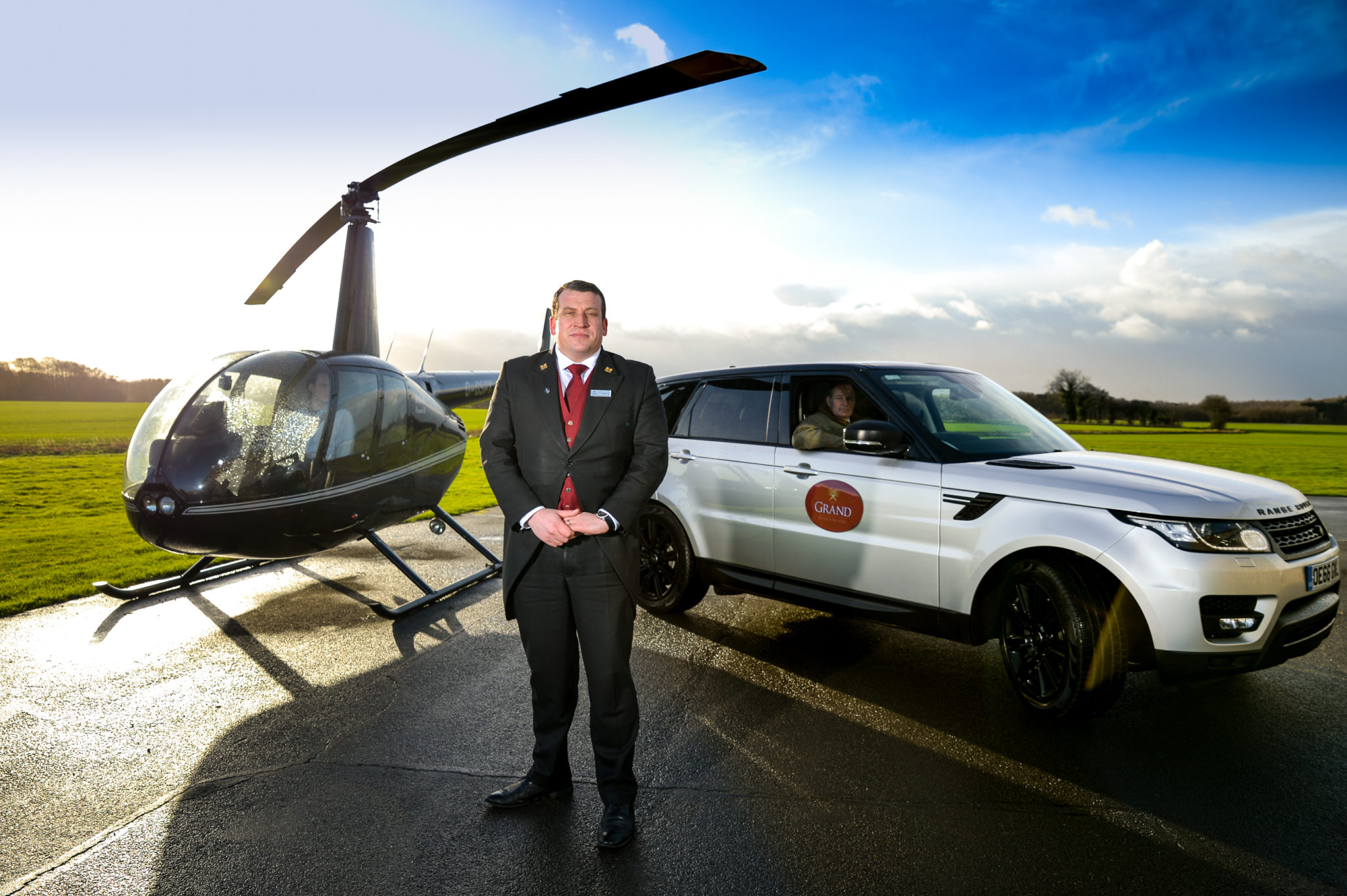 Stewart Reid, Head Concierge at The Grand Hotel & Spa, York, launching the hotel's new helicopter transfer service 4