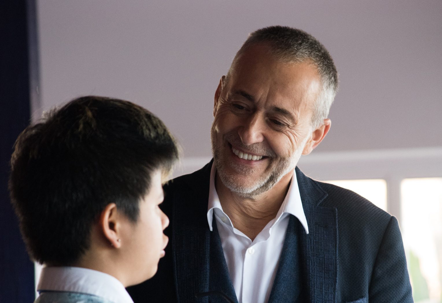 Michel-Roux-with-a-member-of-staff-at-The-Rivers
