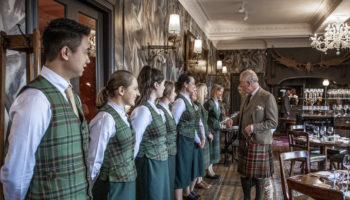 Their Royal Highnesses The Duke and Duchess of Rothesay officially open the refurbished Fife Arms in Braemar, Scotland owned by gallerists Iwan and Manuela Wirth.5