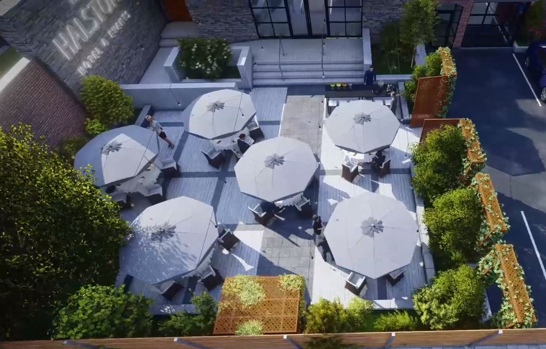 Screenshot from the 3D CGI visualisation of new garden terrace at The Halston 2