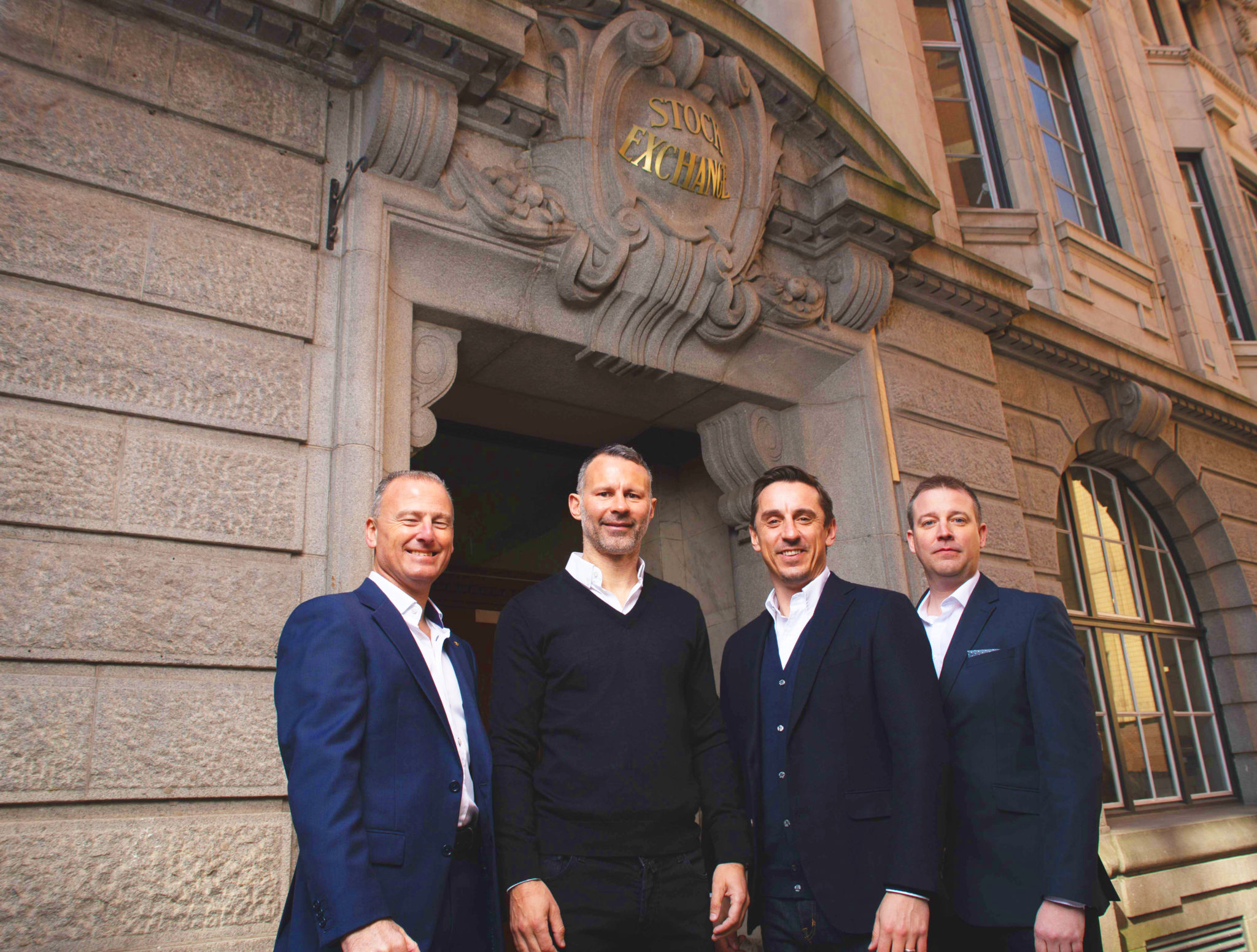 R to L_ Stock Exchange Hotel co owners Winston Zahra, Ryan Giggs, Gary Neville with GG Hospitality COO Stewart Davies